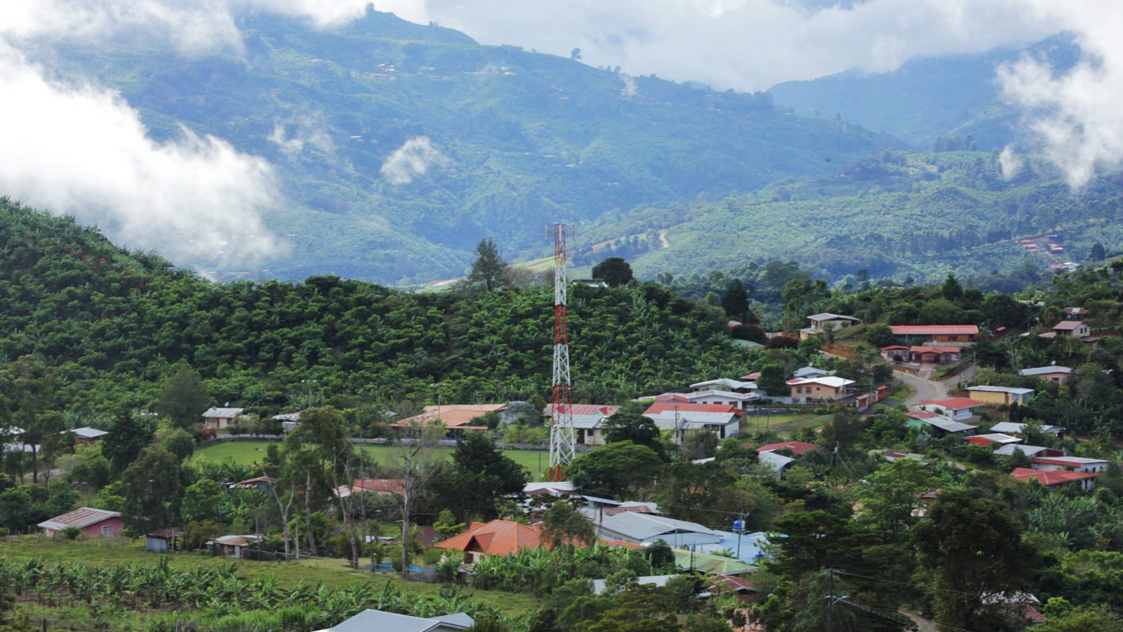 Lush, rural town in mountains of Latin America