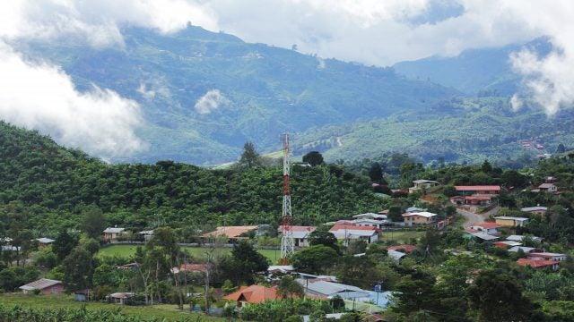 Lush, rural town in mountains of Latin America