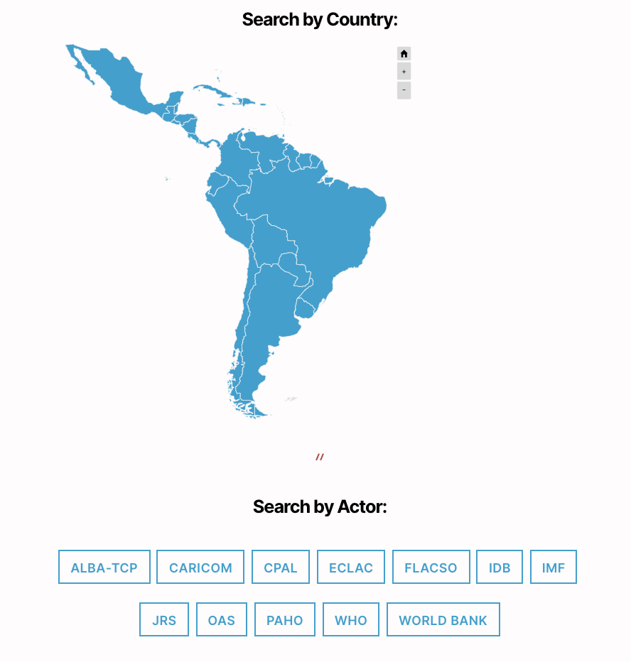 LACCOM Welcome Page with Map of Latin America